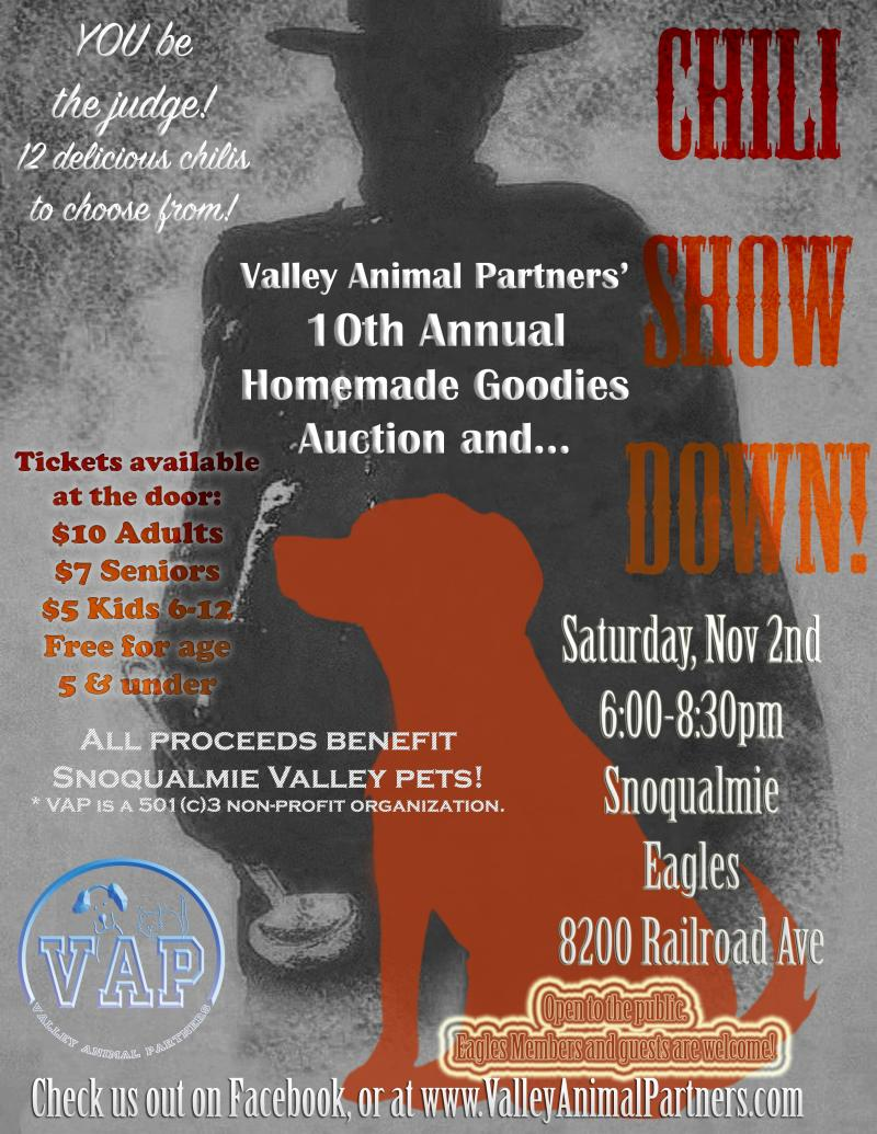 Valley Animal Partners 10th Annual Chili Showdown & Dessert Auction